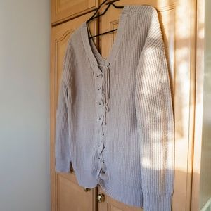 LACE UP Sweater Size Small Warm!